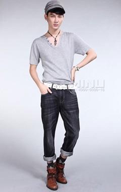 依米奴男装—半开领短袖线衫