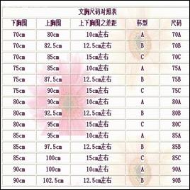 黛安芬内衣加盟产品尺码表